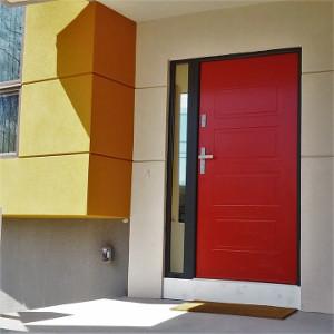 Drzwi Wikęd w czerwonym kolorze